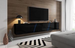 Comoda Tv Slant 240 + Led | Black/Black High Gloss