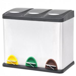 Coș gunoi cu pedale pentru reciclare, oțel inoxidabil, 3 x 8 L