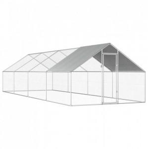 Coteț de exterior pentru păsări, 2,75x8x2 m, oțel galvanizat