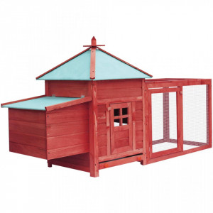 Coteț de găini, cuibar, roșu, 193x68x104 cm, lemn masiv de brad