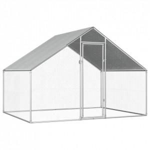 Coteț de păsări pentru exterior, 2,75x2x1,92 m, oțel galvanizat