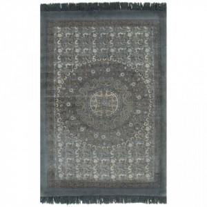 Covor Kilim, gri, 120 x 180 cm, bumbac, cu model