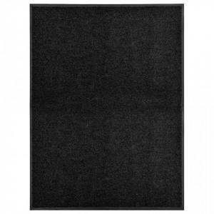 Covoraș de ușă lavabil, negru, 90 x 120 cm