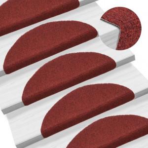 Covorașe autocolante de scări, 15 buc, 54 x 16 x 4 cm, roșu