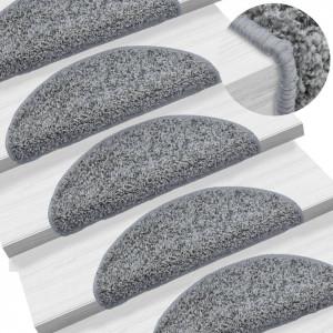 Covorașe de scări, 15 buc., gri, 56 x 20 cm