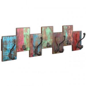 Cuier cu 7 cârlige din lemn reciclat de esență tare