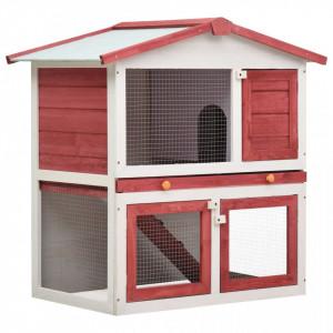 Cușcă de iepuri pentru exterior, 3 uși, roșu, lemn