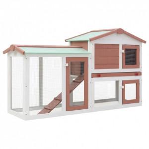 Cușcă exterior pentru iepuri mare maro&alb 145x45x85 cm lemn
