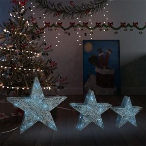 Decor Crăciun stele 3 buc. plasă argintie LED exterior/interior