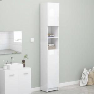 Dulap de baie, alb extralucios, 32 x 25,5 x 190 cm, PAL