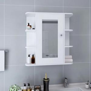 Dulap de baie cu oglindă, alb, 66 x 17 x 63 cm, MDF