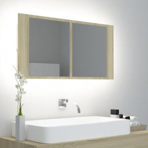 Dulap de baie cu oglindă și LED, stejar Sonoma, 90x12x45 cm