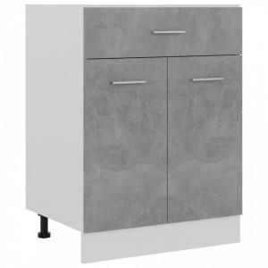 Dulap inferior cu sertar, gri beton, 60 x 46 x 81,5 cm, PAL