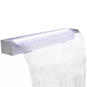 Fântână piscină dreptunghiulară LED-uri 90 cm oțel inoxidabil