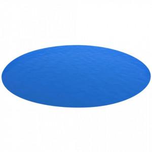 Folie solară rotundă din PE pentru piscină, 488 cm, albastru