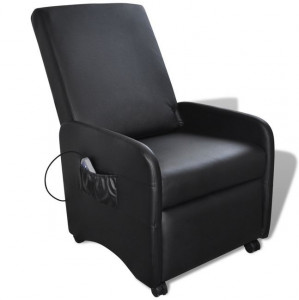 Fotoliu de masaj electric, piele artificială, reglabil, negru
