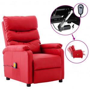 Fotoliu de masaj rabatabil electric, roșu, piele ecologică