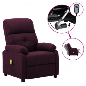Fotoliu de masaj rabatabil electric, violet, material textil
