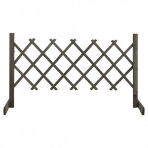 Gard cu zăbrele de grădină, gri, 120x60 cm, lemn masiv de brad