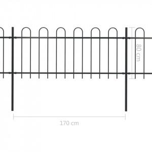 Gard de grădină cu vârf curbat, negru, 15,3 x 0,8 m, oțel