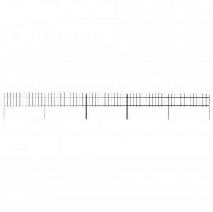 Gard de grădină cu vârf suliță, negru, 8,5 x 0,6 m, oțel