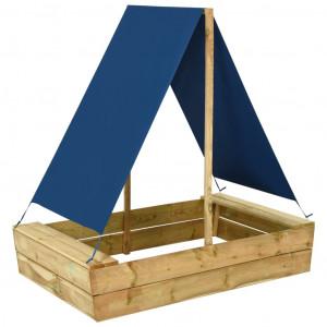 Groapă de nisip cu acoperiș, 80x60x97,5 cm, lemn de pin tratat