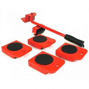 HI Set cu roți pentru transport mobilier, roșu și negru