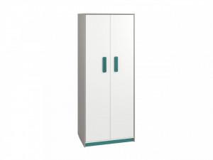 Iq 02 (Dulap pentru haine 2D) Grey Platinum/White/Marine Blue