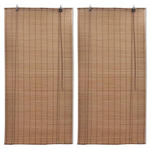 Jaluzele din bambus tip rulou, 2 buc., maro, 80x160 cm