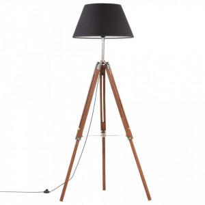 Lampă de podea trepied maro miere și negru 141 cm lemn de tec