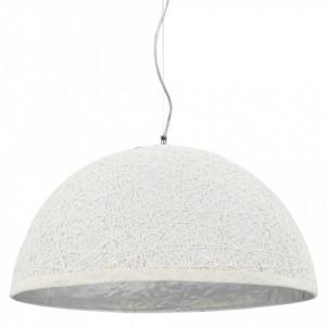 Lampă suspendată, alb și argintiu, Ø50 cm, E27