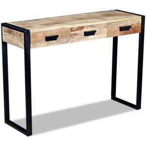 Masă consolă cu 3 sertare, lemn de mango dur, 110 x 35 x 78 cm