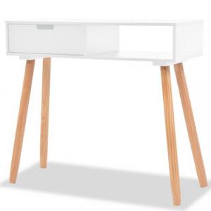 Masă consolă, lemn masiv de pin 80x30x72 cm, alb
