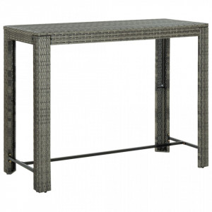 Masă de bar de grădină, gri, 140,5 x 60,5 x 110,5 cm, poliratan