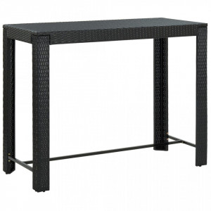 Masă de bar de grădină, negru, 140,5x60,5x110,5 cm, poliratan