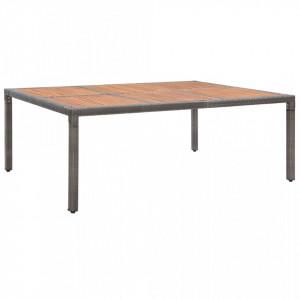 Masă de grădină, gri, 200x150x74 cm, poliratan și lemn acacia