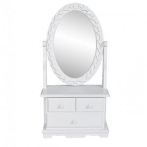Masă de machiaj cu oglindă oscilantă ovală, MDF