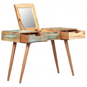 Masă de toaletă cu oglindă, 112x45x76 cm, lemn masiv reciclat