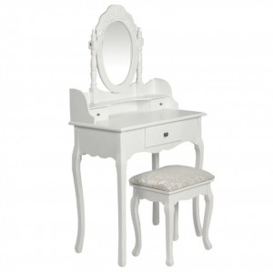 Masă de toaletă cu oglindă și taburet, alb