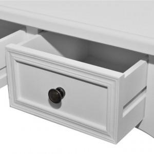 Masă de toaletă tip consolă cu trei sertare, alb
