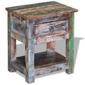 Masă laterală cu un sertar din lemn solid de mango, 43 x 33 x 51 cm