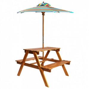 Masă picnic pentru copii cu umbrelă, 79x90x60 cm, lemn acacia