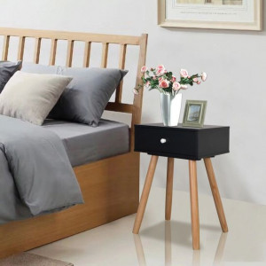 Noptiere din lemn masiv de pin 2 buc, 40 x 30 x 61 cm, negru