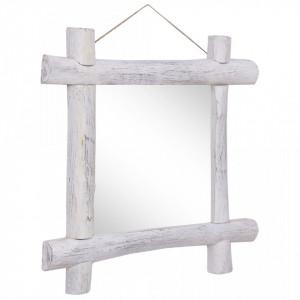 Oglindă cu ramă din bușteni alb 70 x 70 cm lemn masiv reciclat