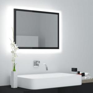 Oglindă de baie cu LED, gri extralucios, 60x8,5x37 cm, PAL