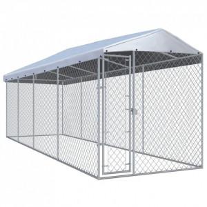 Padoc pentru câini de exterior, cu acoperiș 7,6 x 1,9 x 2,4 m