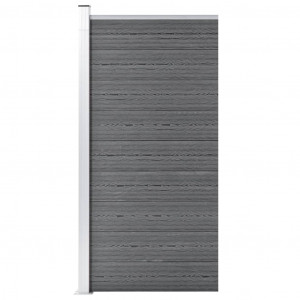 Panou de gard, gri, 95x186 cm, WPC