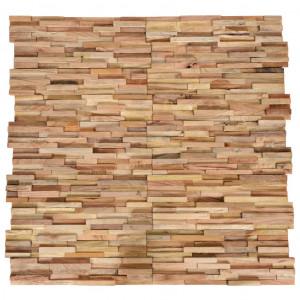 Panouri placare pereți 3D, 10 buc., 1,08 m², lemn masiv de tec