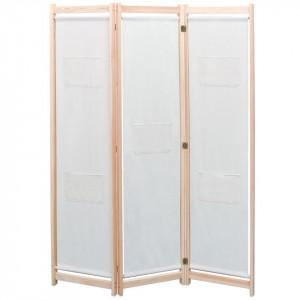 Paravan de cameră cu 3 panouri, crem, 120x170x4 cm, textil