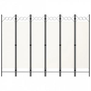 Paravan de cameră cu 6 panouri, alb, 240 x 180 cm